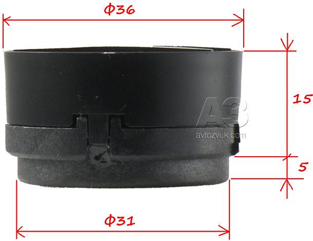 Компонентная акустика Pioneer TS-A173CI. Размеры твитера